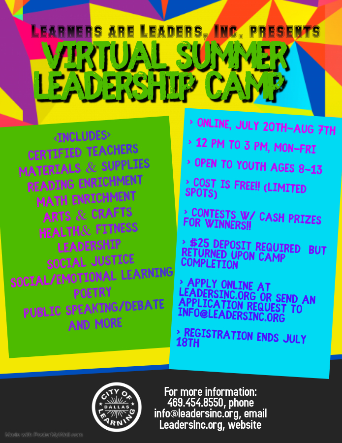 2020 Virtual Summer Camp Flyer